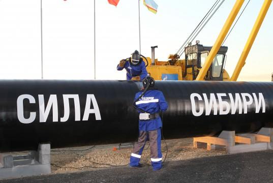 Gazprom verlegt in Ostsibirien Kraft Sibiriens 1