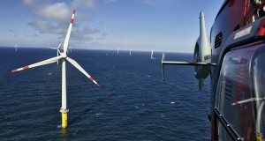 Offshore-Windpark Borkum West in der Nordsee Borkum West offshore wind farm in the North Sea Anlagen/turbines: 40 x Adwen AD 5-116 13.8.2015